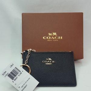 NEW Coach keychain coin purse black